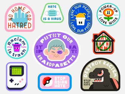 #stopasianhate #stopaapihate badge design racism is trash