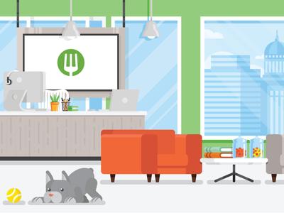 EatStreet HQ - WIP dog press page online food eatstreet office wisconsin madison illustration lobby