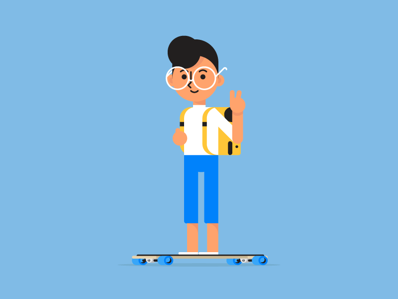Suh ✌️ commute peace people backpack longboard school character avatar college