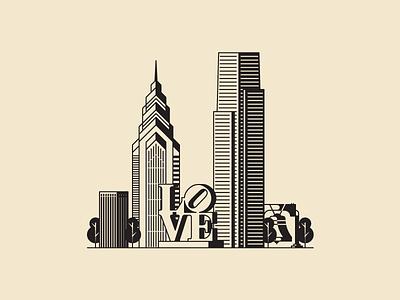 Philly Skyline libery place comcast wip liberty bell love statue philadelphia landscape buildings skyline philly