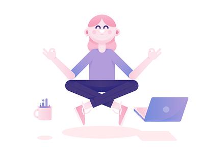 Women in Tech meditate coffee character equality power girl avatar design tech lady women