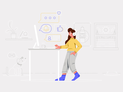 Remote Work: A Love/Hate Story golden gate bridge big ben london san francisco dog remote design remote work work from home wfh notifications video call happy girl illustration character
