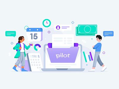 Pilot Tax bookkeeping on time money illustration character san fransisco startups tax pilot
