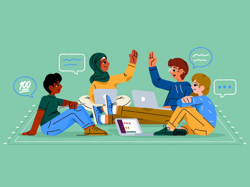 AMA: What's unique about MetaLab's culture? slack collaboration emojis high fives ama no assholes culture metalab diversity happy girl illustration character avatar