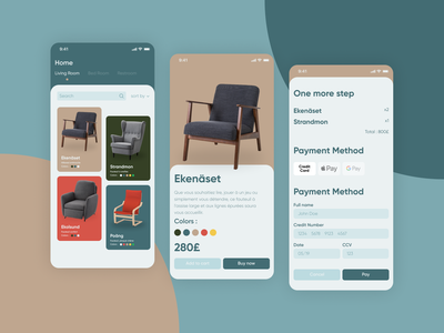 Chairs App #DailyUI chairs payment ecommerce chairs store scandinavian style scandinavian daily 100 challenge dailyui web app mobile app design design flat adobexd minimal mobile ui ux ui