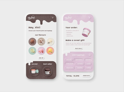 Coraline's unique creamery app design | Viviana animation tap illustration graphicdesign pint pastel dribbble drip app ice cream pink website neumorphism icons dashboard artist web design ux ui layout