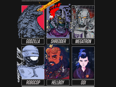SIXFANART | CHALLENGE cartoon anime odi hellboy robocop megatron shredder godzilla illustration art illustration character design art design characterdesign art