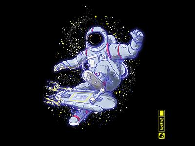 Astronaut meatval skateboard space illustration art illustration design art design character characterdesign art astronaut