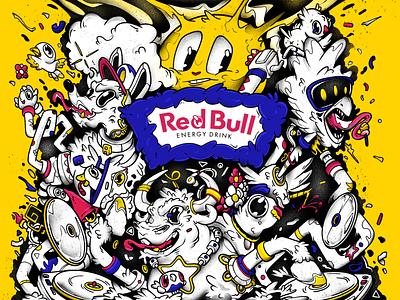 Red Bull | concept art (Full version) print pattern graphic design cartoon red bull branding illustration design art design characterdesign character art