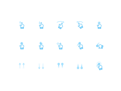 Creative day - Gesture Icons double hold tap push drag swipe iconography gestures set icon