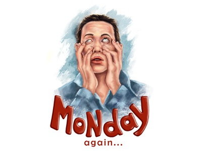 Monday again, illustration watercolor digital drawing morning hard morning design draw art illustration artwork raster raster graphics graphic monday mondaymorning illustration
