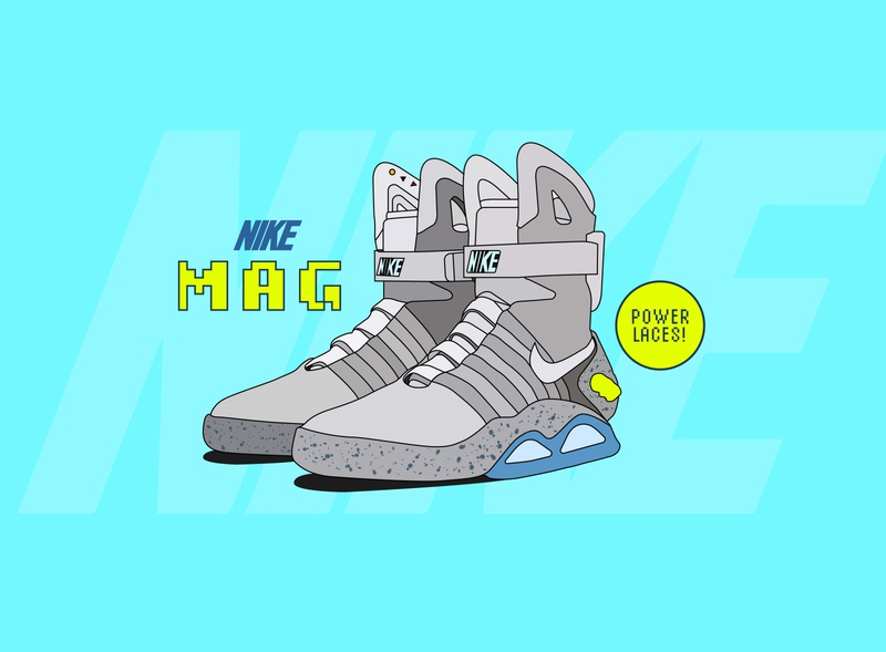 NIKE MAG branding vector nike mag art graphic design hollywood movie prop sports basketball power power laces nike shoes future ad back to the future shoes nike