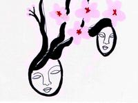 cherry blossom hair sketch