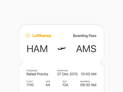Boarding Pass – Daily UI #024 ticket lufthansa pass boarding 024 dailyui