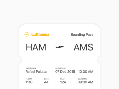 Boarding Pass – Daily UI #024 ticket lufthansa pass boarding 024 dailyui