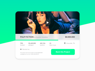 Crowdfunding Campaign – Daily UI #032 film thurman uma tarantino quentin movie fiction pulp campaign crowdfunding 032 dailyui
