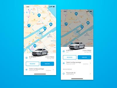 car2go App – Vehicle Panel ui transportation mobility carsharing rental ux mercedes vehicle car2go panel map app