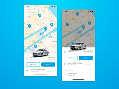 car2go App – Vehicle Panel ui transportation mobility carsharing rental ux mercedes vehicle car2go panel map app