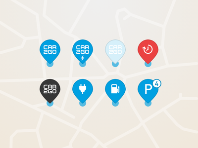 car2go – Map Pins library types car system design ux ui car2go pin map app