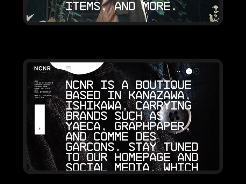NCNR | Desktop typography fullscreen desktop webdesig ecommerce photo concept minimal clean design web creative ux ui