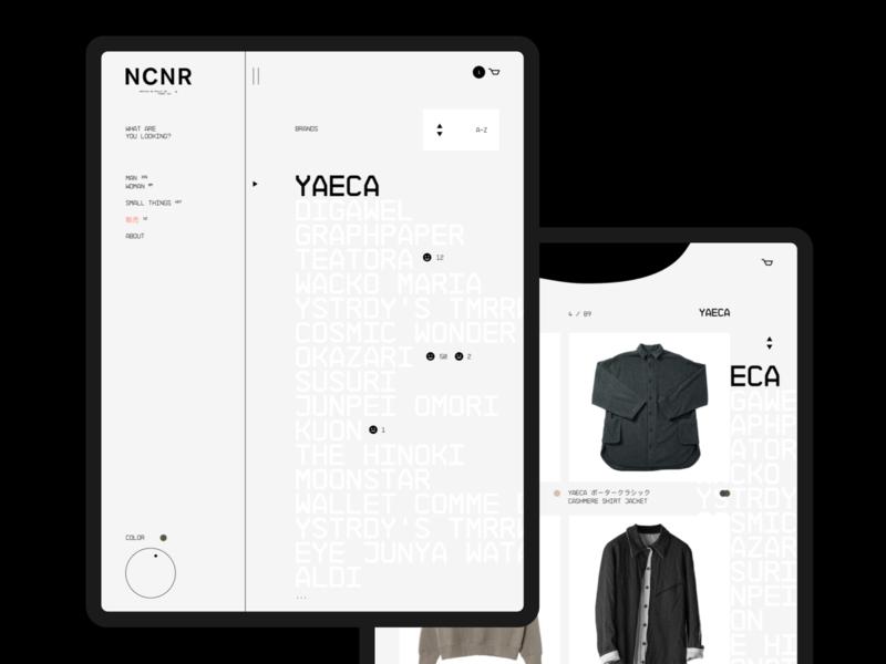 NCNR | Mobile Menu + Catalog desktop photo clean mobile fullscreen concept typography webdesign ecommerce minimal design web creative ux ui