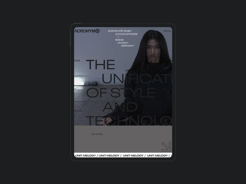 ACRNM | Ipad typography concept mobile ecommerce photo minimal clean design web creative ux ui