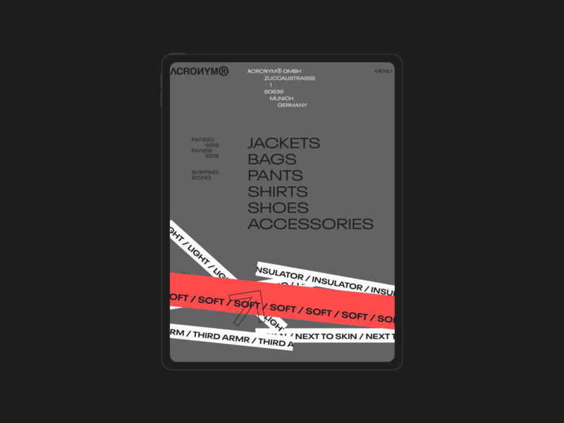 ACRNM | Ipad promo clean photo mobile typography webdesig webdesign ecommerce concept minimal web design creative ux ui