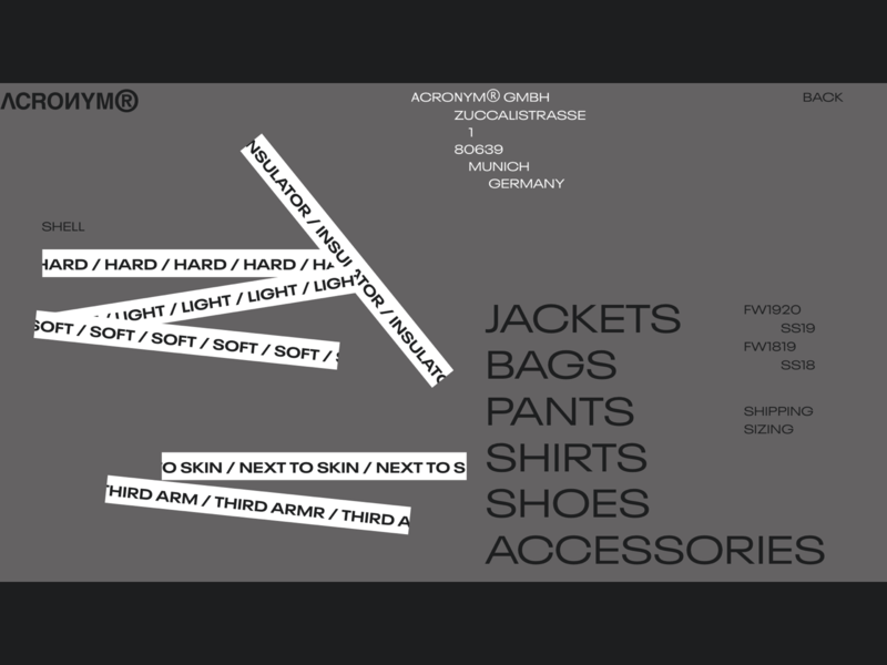 ACRNM | Desktop Menu desktop fullscreen typography webdesig ecommerce concept minimal clean design web creative ux ui