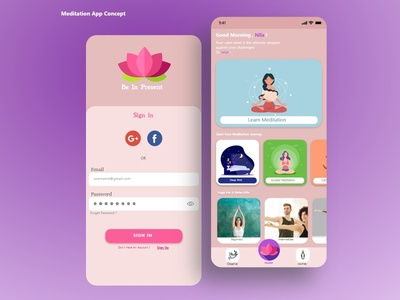 Meditation & Yoga App feminism ui calm meditation app yoga app yoga meditate meditation
