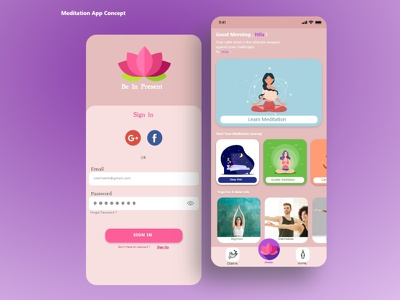 Meditation & Yoga App feminism ui calm meditation app yoga app yoga meditate meditation