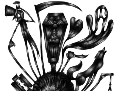Coffin Joe black and white pencil drawing hand drawn pencil illustration graphite drawing illustration