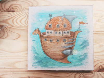 Space Ark 1 childrens illustration childrens book watercolour illustration watercolour illustration hand drawn