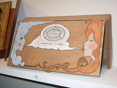 40 Thieves Exhibition art exhibition cigar box hand painted pencil drawing illustration hand drawn