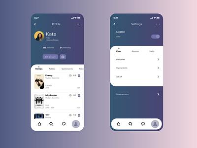 User Profile and settings app design ux ui