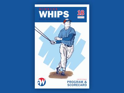 Winkler Whips - Program Cover procreate illustration program scorecard vintage baseball