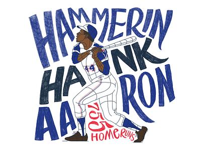 Hammerin' Hank Aaron braves atlanta baseball procreate typography home run hank aaron