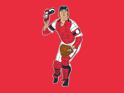 Carlton Fisk backcatcher catcher carlton fisk boston red sox illustration mlb sports baseball