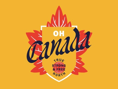 Oh Canada badge organic type illustration typography blackletter true north logo canada