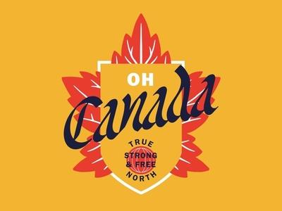 Oh Canada badge organic type illustration typography blackletter true north logo canada