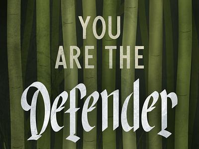 Defender - Wallpaper wallpaper bamboo sans serif blackletter typography design illustration