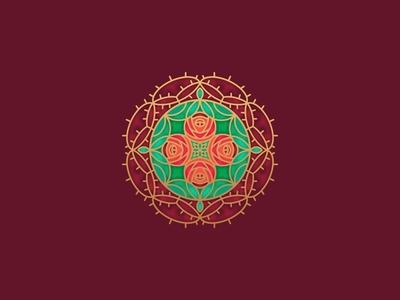 Rose of Sharon - Wallpaper sketch illustration symmetry wallpaper rose stained glass