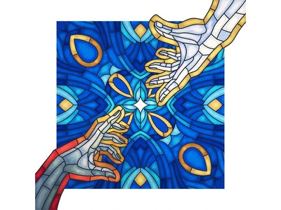 Intimacy - Stained Glass michelangelo hands color colour illustration stained glass intimacy