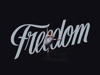 Freedom typography script ballet ballerina design illustration
