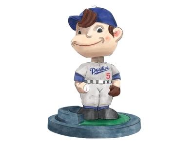 Positive Bobble-Boy design mlb illustration cap sports bobblehead baseball dodgers la dodgers