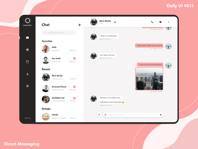 Daily UI #013 - Direct Messaging modern ipad web social network chat app chat daily ui ui minimal design dailyui clean ui app