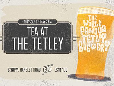 Tetley Brewery Invite illustration design hand drawn typography