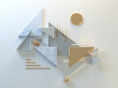 Abstract composition bling gold marble render 3d abstract triangles