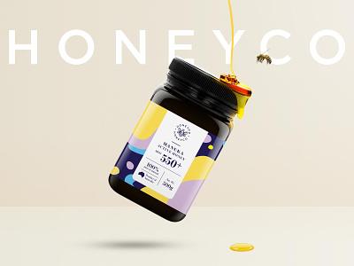 HONEYCO Honey Packaging Design key visual honeyco logo branding type typography illustration brand identity honey packaging honey packaging brand design packaging design