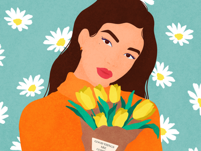 Good things are coming🌷 procreate simple illustration portrait character woman flat grain flatdesign face vector illustration