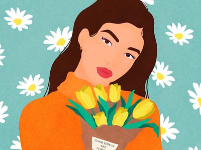 Good things are coming🌷 procreate simple illustration portrait character woman flat grain flatdesign face vector illustration